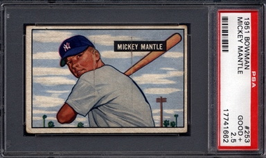 1951 Bowman Mickey Mantle PSA Rookie Card
