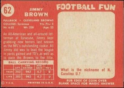 Jim Brown Rookie Card 1958 Topps 62 Cleveland Browns
